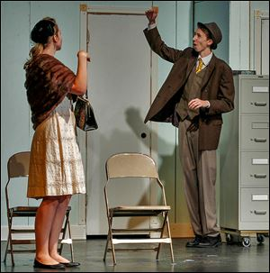 Kyleigh Dehart and Andrew Sabovik, who plays lead character Elwood P. Dowd, rehearse for 'Harvey' at Rossford High School. The Pulitzer Prize-winning play became a hit film starring Jimmy Stewart.
