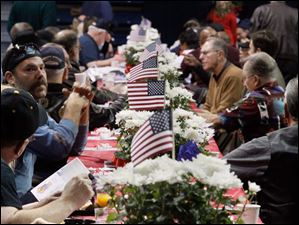 Tables were decorated for the event Ninth Annual Veterans Appreciation Breakfast and Resource Fair at the University in Toledo.