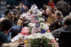 Tables were decorated for the event Veterans Appreciation Breakfast and Resource Fair at the University in Toledo