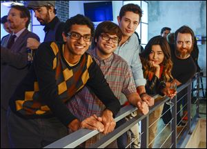 From left, Karan Soni, Charlie Saxton, Joe Dinicol, Maya Erskine, and Jon Daly, star in Amazon's original series 'Betas, 'which debuts Nov. 22 on Amazon.com.