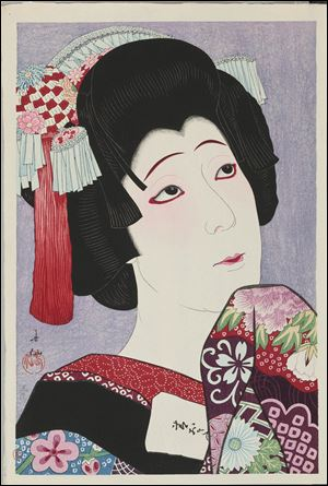 Japanese color woodblock print from the Fresh Impressions show at TMA.