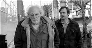 "Bruce Dern as Woody Grant, left, and Will Forte as David Grant in a scene from the film ""Nebraska,"" about a booze-addled father who makes to Nebraska with his estranged son in order to claim a million dollar Mega Sweepstakes Marketing prize."