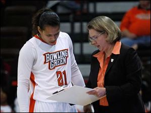 BGSU's Erica Donovan gets instruction from head coach Jennifer Roos during a game against Niagara.