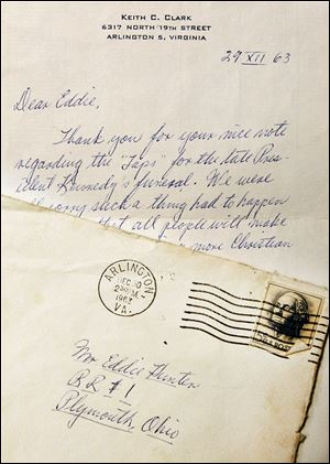 Although deluged with mail nationwide, Army bugler Keith Clark wrote this letter back to Ed  — known then as Eddie — Hunter.