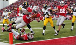 OSU's Carlos Hyde finds the end zone against Iowa on Oct. 19. Hyde is one of only two FBS running backs without a carry for a loss this season.