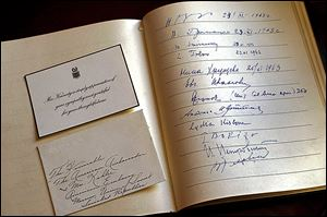 A guest book from the U.S. Embassy in Russia for a memorial service there in December, 1963, for John F. Kennedy was signed by top Russian leaders.