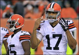 Cleveland Browns quarterback Jason Campbell hadn't thrown an interception in 90 attempts this season, but was picked off three times Sunday in Cincinnati against the Bengals.