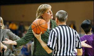 University of Toledo head coach Tricia Cullop argues a call during the second half.