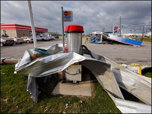 Damage at the Circle K convenience store in Perrysburg Township Monday.
