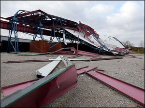 Screen 1 at the Sundance Kid Drive-In in Oregon was toppled by the storm Sunday.