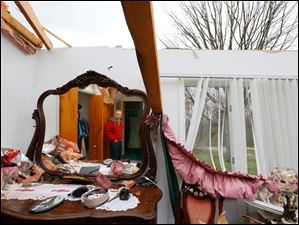 The roof of Robert Zeller's bedroom is missing from his Oregon home after Sunday's storm.