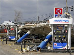 Damage at the Circle K convenience store in Perrysburg Township.
