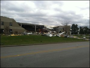 Damage at one of the Video Products Distributors buildings at Cedar Park industrial park in Perrysburg Township.
