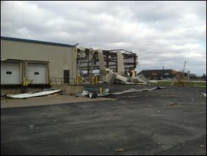 Damage at one of the buildings of Video Products Distributors  in Cedar Park industrial park in Perrysburg Township.