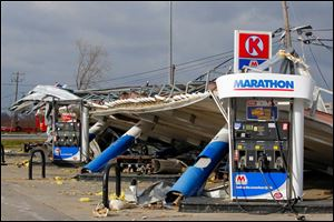 The shelter over the Circle K pumps in Perrysburg Township came crashing down during the storm.