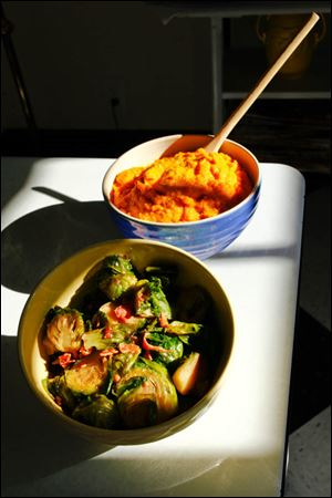 Caramelized brussel sprouts with bacon and butternut squash puree.