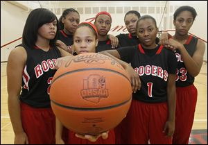 Rogers is looking for a third straight City League title with, from left, Jasmyne Smith, Tori Easley, Keyanna Austin, Akienreh Johnson, Keasja Peace, Sasha Dailey, Marquelle Williams.