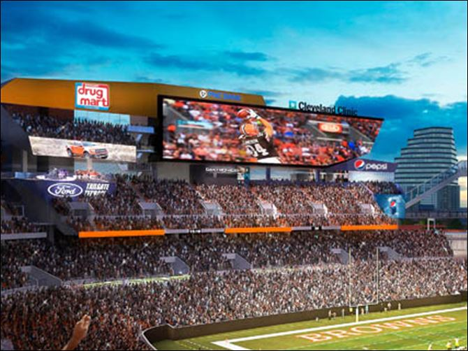 Browns Stadium Upgrade Football This architect's rendering provided by the Cleveland Browns shows part of a proposed renovation of FirstEnergy Stadium.