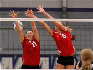 Bedford's MacKenzie Andrews, 11, and Nicole Rightnowar try to block a shot.