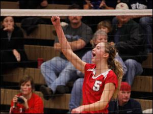 Bedford's Nicole Rightnowar celebrates a point.