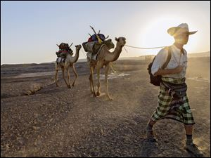 Journalist Paul Salopek walks across the Afar desert of Ethiopia as part of his planned seven-year global trek from Africa to Tierra del Fuego.