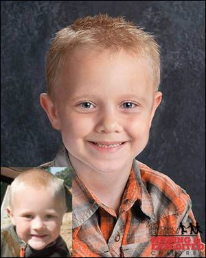 Tanner Lucas Skelton. The lower photo shows Tanner at age 5. The other photo shows him as age-progressed to 7 years old.