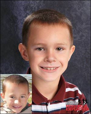 Alexander William Skelton. The lower photo shows Alexander at age 7. The other photo shows him as age-progressed to 9 years old.