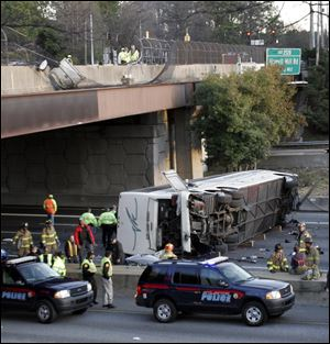In 2007, a bus chartered for the Bluffton University baseball team came to rest below an Atlanta highway ramp after a crash that killed seven and injured 28.