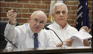Mayor Nelson Evans speaks during a Planning Commission meeting regarding the preliminary plan for Costco in Perrysburg.