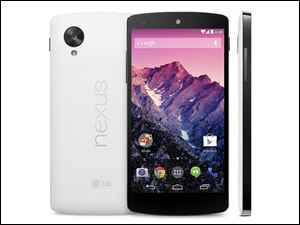 The Google Nexus 5 phone, unveiled Thursday, is the first device to run on the latest version of Google's Android operating system. The phone and software are designed to learn and anticipate a person's interests and needs.