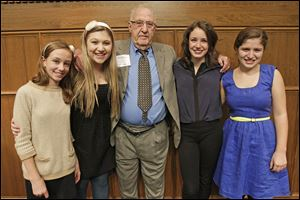 Bobby Kaplan pictured with his granddaughters Eleanor Byers, 11, left, Lilly Kaplan, 16, Abby Byers, 22, and Sadie Kaplan, 14, Novmeber 13, 2013 during the CASA Evening of Celebration and Hope at the Toledo Club.