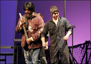 Esteban Vega, left, and Landon Tavernier perform in 'King Cole's American Salvage,' an adaptation of a story in Bonnie Campbell's critically acclaimed 'American Salvage,' at Owens Community College.