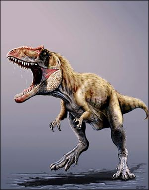 An artist's rendering shows Siats meekorum, a precursor to T. rex as the dominant predator in North America.
