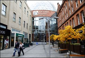 A view of the Victoria Square Shopping complex in the centre of Belfast, Northern Ireland.