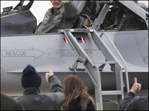 180th Fighter Wing Col. Steven Nordhaus is celebrated during his Fini Flight at the Swanton, Ohio Air National Guard base.