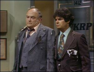 "Gordon Jump, left, and Frank Bonner in a scene from ""WKRP in Cincinnati."""