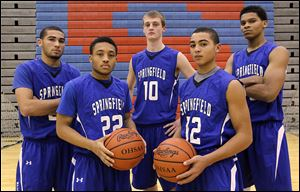 Members of the Springfield basketball team are, from left: Manny Durden, Markese Hicks, Chad Roy, Mason Durden, and Demajeo Wiggins. The Blue Devils have not won a league title since 1996-97.