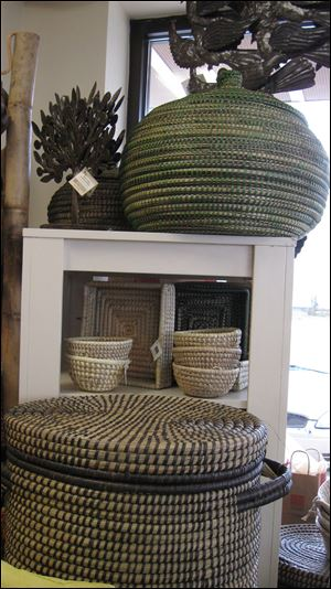Large hand-woven baskets are from Baghdad.