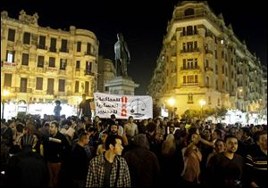 Secular Egyptian activists protest in Talaat Harb Square in Downtown, Cairo, Egypt, Tuesday.