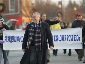 Judge Dwight Osterud, grand marshall, in the parade.