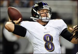 Baltimore Ravens quarterback Caleb Hanie throws during the second quarter of an NFL preseason football game against the St. Louis Rams. Hanie was cut from the Ravens.