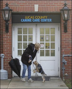 Volunteer Kaye Stephens walks a dog outside the Lucas County Canine Care Center.