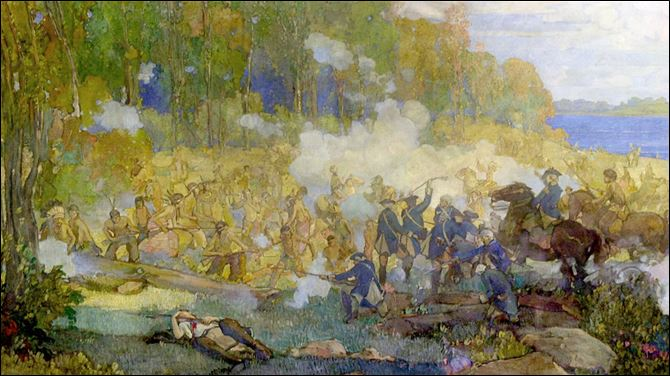 Copy of a portion of the Battle of Fallen Timbers painting at Charter One Bank, 337 North Huron St.