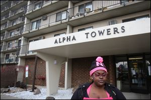 Donetta Hayes, a resident at the Alpha Towers housing complex near downtown Toledo, described her frustration at being barred from the building. The complex, which houses many senior citizens, evacuated its residents on the evening of Monday, Dec. 2, 2013, after a malfunction triggered the fire suppression system throughout the building.