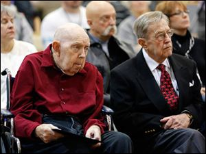 Left to right John Stauffer and John Turk are two of six Ohio veterans who helped liberate France during World War II are awarded that country's Medal of Knight of the Legion of Honor