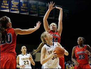 University of Toledo forward Olivia Braun (30) looks for an opening against Detroit forward Megan Galloway (34).
