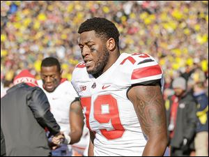OSU's Marcus Hall was kicked out of Saturday's game at Michigan. Hall used an obsence gesture toward fans on his way off the field.