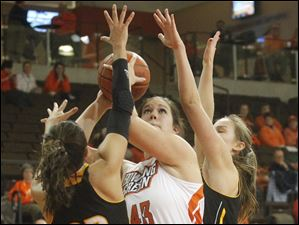 Bowling Green's Abby Siefker is defended by Milwaukee's Angela Rodriguez.