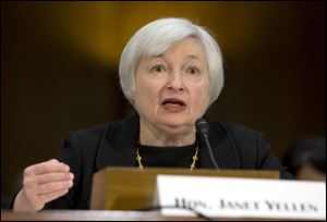 Federal Reserve Board Chair nominee Janet Yellen testifies on Capitol Hill in Washington.