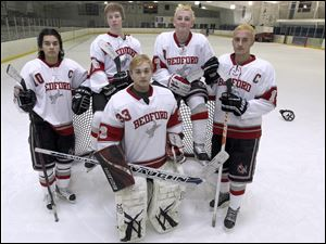 Bedford is competing in the NHC White Division National Conference this year after a season in the top-tier Red Division. Top players returning are (back, from left) Devin Keener, Josef Molnar, Grant Harper, and Jacob Ansara and goaltender Austin Grycza.